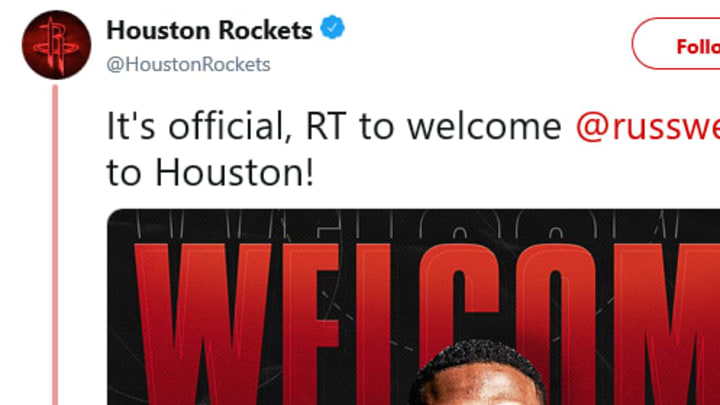 Houston Rockets officially announced the acquisition of Russell Westbrook.