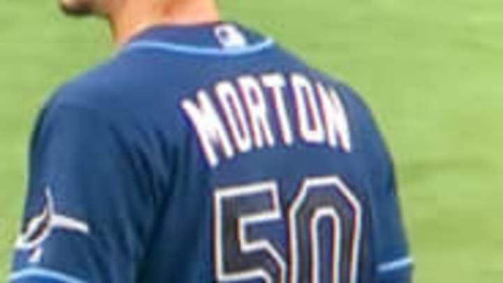 twitter freaked out because it looked like charlie morton had a substance on his neck while pitching charlie morton