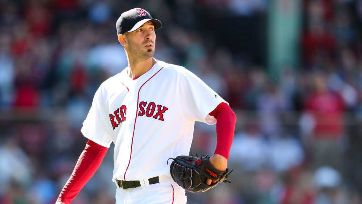 BOSTON, MA - MAY 11:   Rick Porcello #22 of the Boston Red Sox is taken out of the game against the Seattle Mariners in the seventh inning at Fenway Park on May 11, 2019 in Boston, Massachusetts.  (Photo by Adam Glanzman/Getty Images)