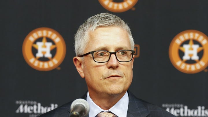 HOUSTON, TEXAS - AUGUST 02: Jeff Luhnow, general manager and president of baseball operations for  the Houston Astros addresses the media as he introduces players acquired at the  trade deadline at Minute Maid Park on August 02, 2019 in Houston, Texas. (Photo by Bob Levey/Getty Images)