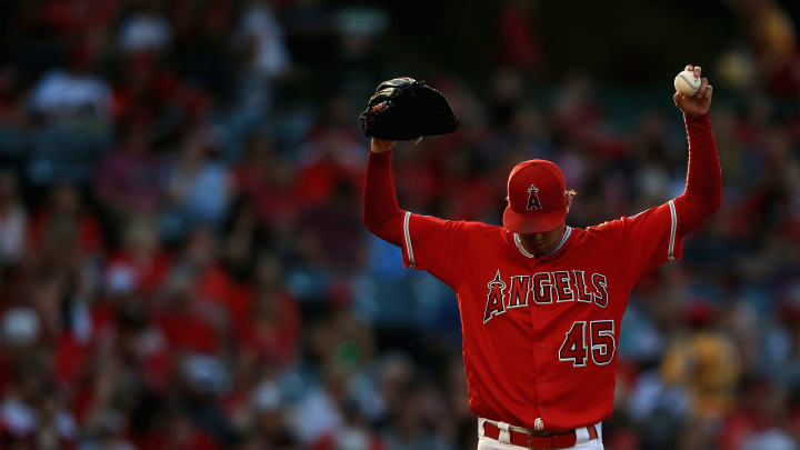 ANAHEIM, CA - JULY 12:  Tyler Skaggs #45 of the Los Angeles Angels of Anaheim pitches during the first inning of a game against the Seattle Mariners at Angel Stadium on July 12, 2018 in Anaheim, California.  (Photo by Sean M. Haffey/Getty Images)