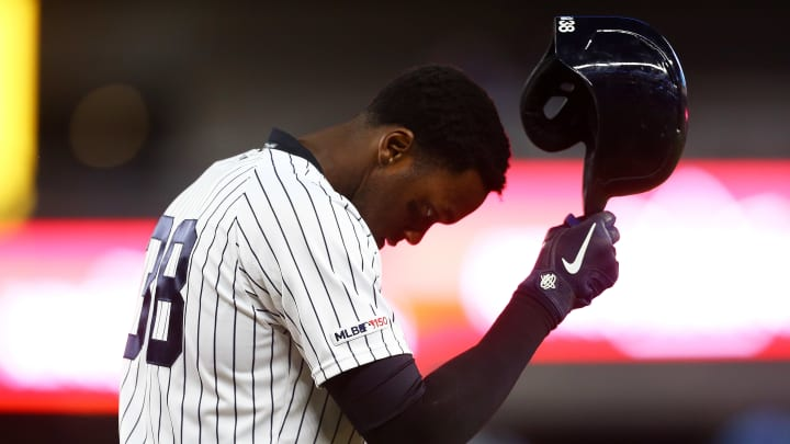 NEW YORK, NEW YORK - MAY 07:  Cameron Maybin #38 of the New York Yankees reacts after hitting into a double play in the seventh inning against the Seattle Mariners at Yankee Stadium on May 07, 2019 in New York City. (Photo by Mike Stobe/Getty Images)