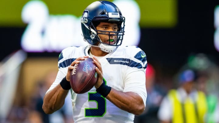 ATLANTA, GA - OCTOBER 27: Russell Wilson #3 of the Seattle Seahawks looks to pass during a game against the Atlanta Falcons at Mercedes-Benz Stadium on October 27, 2019 in Atlanta, Georgia. (Photo by Carmen Mandato/Getty Images)