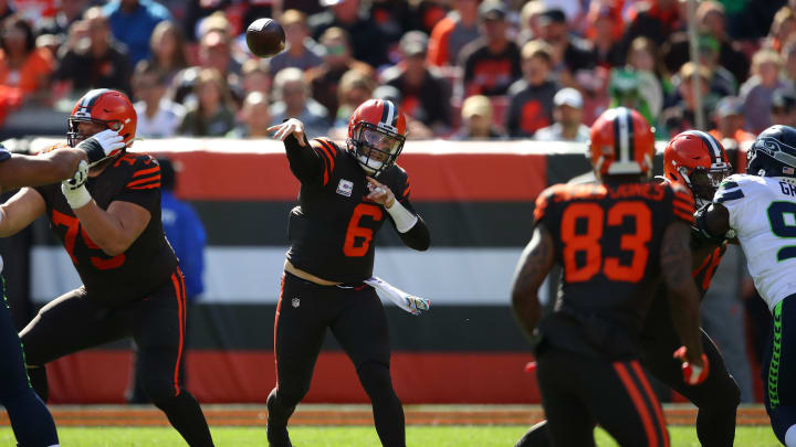 CLEVELAND, OHIO - OCTOBER 13: Baker Mayfield #6 of the Cleveland Browns throws a second quarter pass against the Seattle Seahawks at FirstEnergy Stadium on October 13, 2019 in Cleveland, Ohio. (Photo by Gregory Shamus/Getty Images)