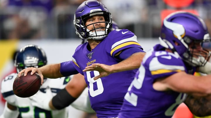 MINNEAPOLIS, MN - AUGUST 18: Kirk Cousins #8 of the Minnesota Vikings passes the ball against the Seattle Seahawks during the first quarter of the preseason game at U.S. Bank Stadium on August 18, 2019 in Minneapolis, Minnesota. (Photo by Hannah Foslien/Getty Images)