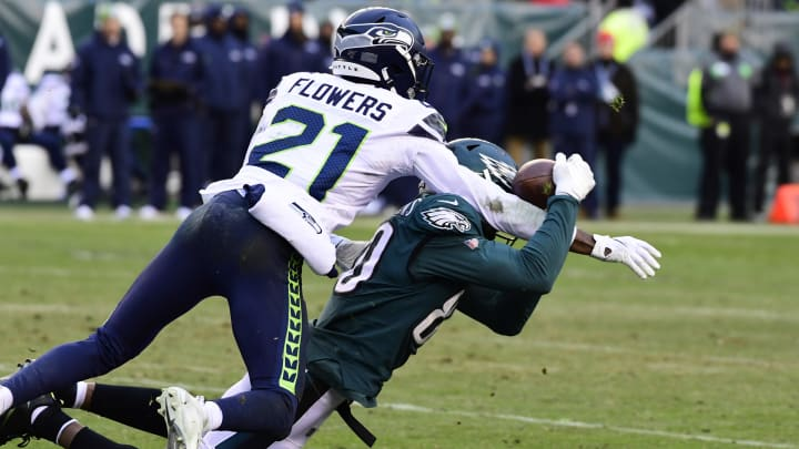 PHILADELPHIA, PA - NOVEMBER 24: Tre Flowers #21 of the Seattle Seahawks defends against Jordan Matthews #80 of the Philadelphia Eagles during the third quarter at Lincoln Financial Field on November 24, 2019 in Philadelphia, Pennsylvania. The Seahawks defeated the Eagles 17-9. (Photo by Corey Perrine/Getty Images)