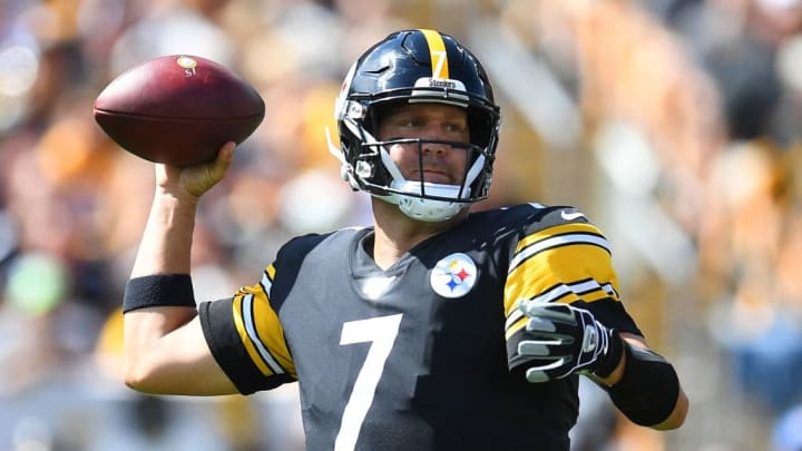 PITTSBURGH, PA - SEPTEMBER 15:  Ben Roethlisberger #7 of the Pittsburgh Steelers looks to pass during the first quarter against the Seattle Seahawks at Heinz Field on September 15, 2019 in Pittsburgh, Pennsylvania. (Photo by Joe Sargent/Getty Images)