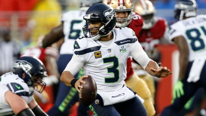 SANTA CLARA, CA - DECEMBER 16: Russell Wilson #3 of the Seattle Seahawks rolls out during the game against the San Francisco 49ers at Levi's Stadium on December 16, 2018 in Santa Clara, California. The 49ers defeated the Seahawks 26-23. (Photo by Michael Zagaris/San Francisco 49ers/Getty Images)