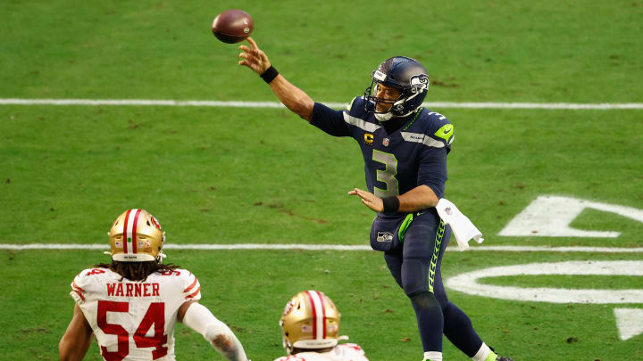 Russell Wilson flew back into Seattle to join the team for OTAs.