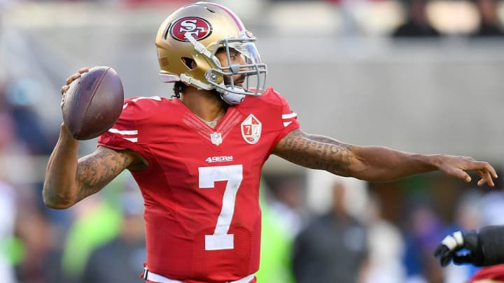 SANTA CLARA, CA - JANUARY 01:  Colin Kaepernick #7 of the San Francisco 49ers drops back to pass against the Seattle Seahawks during the second quarter of their NFL football game at Levi's Stadium on January 1, 2017 in Santa Clara, California.  (Photo by Thearon W. Henderson/Getty Images)