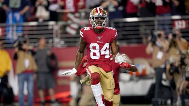 SANTA CLARA, CALIFORNIA - NOVEMBER 11: Wide receiver Kendrick Bourne #84 of the San Francisco 49ers celebrates his touchdown in the first quarter over the Seattle Seahawks at Levi's Stadium on November 11, 2019 in Santa Clara, California. (Photo by Thearon W. Henderson/Getty Images)