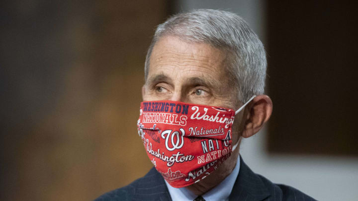 Dr. Anthony Fauci in a Nats mask