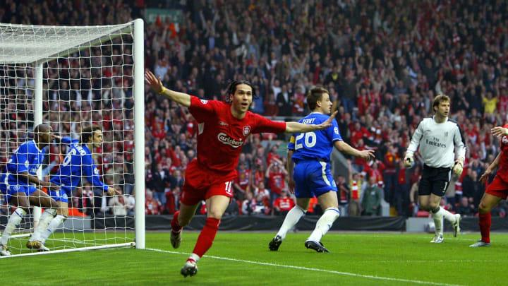 Luis Garcia celebrates his 'goal'