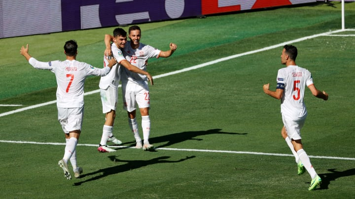 Spain celebrate their second goal of the game