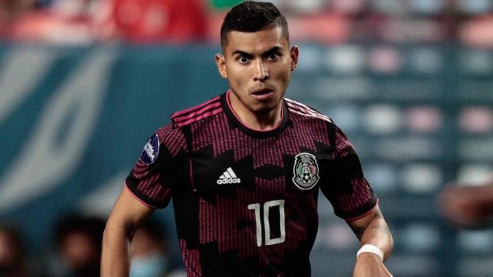 Jun 3, 2021; Denver, Colorado, USA; Mexico midfielder Orbelin Pineda (10) controls the ball in the
