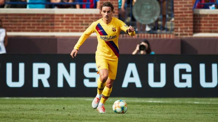 Aug 10, 2019; Ann Arbor, MI, USA; Barcelona defender  Antoine Griezmann (17) during a United States