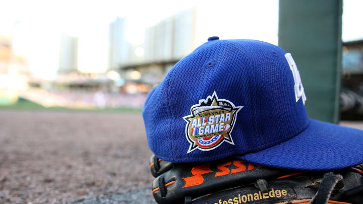CHARLOTTE, NC - JULY 13: The 2016 All Star hat logo is photographed during the Sonic Automotive Triple-A Baseball All Star Game at BB&T Ballpark on July 13, 2016 in Charlotte, North Carolina.  (Photo by Gregg Forwerck/Getty Images)