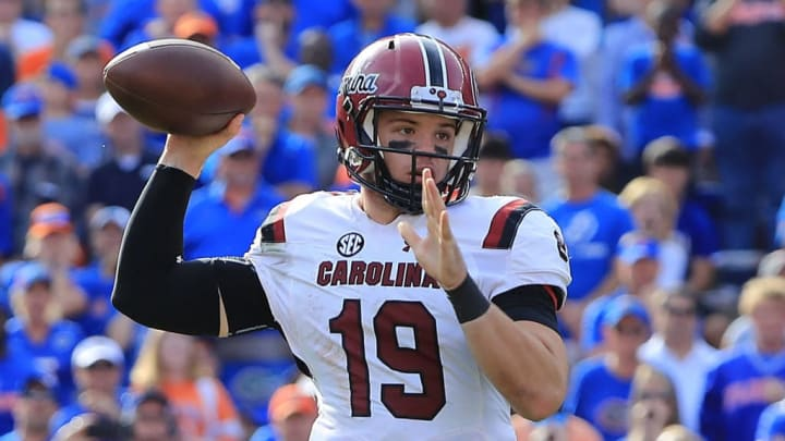 GAINESVILLE, FLORIDA - NOVEMBER 10: Jake Bentley #19 of the South Carolina Gamecocks attempts a pass during the game against the Florida Gators at Ben Hill Griffin Stadium on November 10, 2018 in Gainesville, Florida. (Photo by Sam Greenwood/Getty Images)