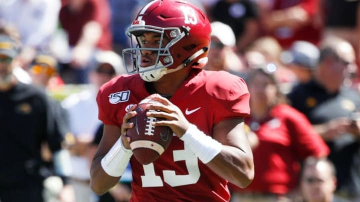 TUSCALOOSA, AL - SEPTEMBER 21: Tua Tagovailoa #13 of the Alabama Crimson Tide looks to pass the ball during a game against the Southern Mississippi Golden Eagles at Bryant-Denny Stadium on September 21, 2019 in Tuscaloosa, Alabama. Alabama defeated Southern Miss 49-7. (Photo by Joe Robbins/Getty Images)