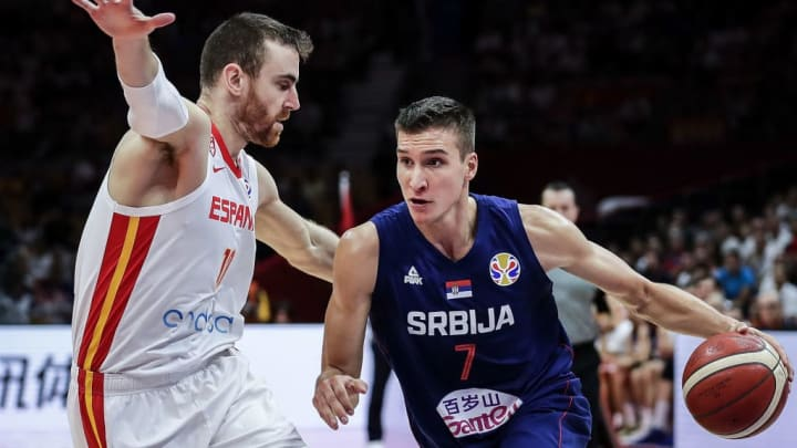 WUHAN, CHINA - SEPTEMBER 08:  Bogdan Bogdanovic #7 of Serbia drives against Spain during FIBA Basketball World Cup China 2019 at Wuhan Sports Center on September 08 , 2019 in Wuhan, China.  (Photo by Wang He/Getty Images)