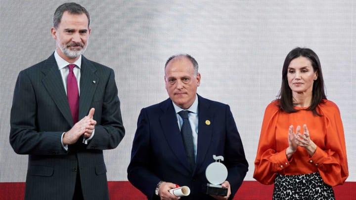 King Felipe VI of Spain, Queen Letizia of Spain, Javier Tebas