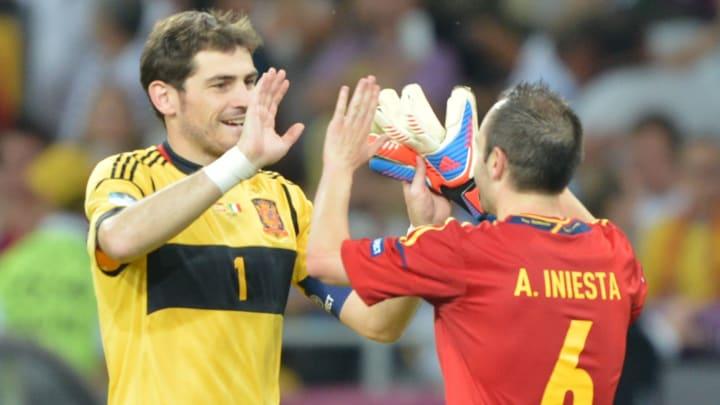 Spanish goalkeeper Iker Casillas and mid