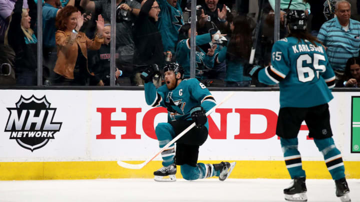 SAN JOSE, CALIFORNIA - MAY 11: Joe Pavelski #8 of the San Jose Sharks celebrates after scoring a goal on Jordan Binnington #50 of the St. Louis Blues during the first period in Game One of the Western Conference Finals during the 2019 NHL Stanley Cup Playoffs at SAP Center on May 11, 2019 in San Jose, California. (Photo by Christian Petersen/Getty Images)