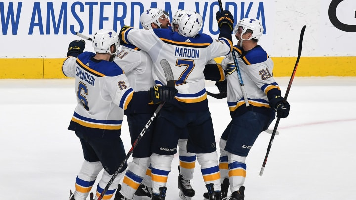 SAN JOSE, CALIFORNIA - MAY 13: Robert Bortuzzo #41 of the St. Louis Blues celebrates his goal against the San Jose Sharks in Game Two of the Western Conference Final during the 2019 NHL Stanley Cup Playoffs at SAP Center on May 13, 2019 in San Jose, California. (Photo by Thearon W. Henderson/Getty Images)