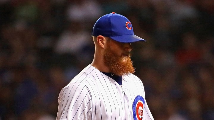 CHICAGO, ILLINOIS - SEPTEMBER 19: Craig Kimbrel #24 of the Chicago Cubs leaves the field after being taken out of the game in the 10th inning against the St. Louis Cardinals at Wrigley Field on September 19, 2019 in Chicago, Illinois. The Cardinals defeated the Cubs 5-4 in 10 innings. (Photo by Jonathan Daniel/Getty Images)