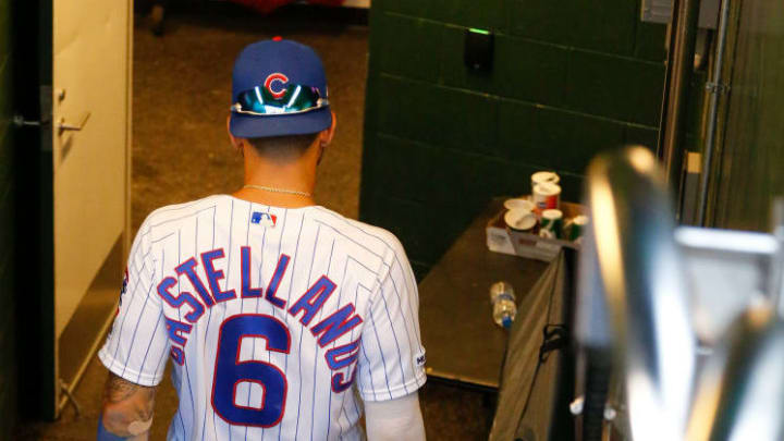 CHICAGO, ILLINOIS - SEPTEMBER 21: Nicholas Castellanos #6 of the Chicago Cubs was the last player to leave the dugout following his team's 9-8 loss to the St. Louis Cardinals at Wrigley Field on September 21, 2019 in Chicago, Illinois. (Photo by Nuccio DiNuzzo/Getty Images)