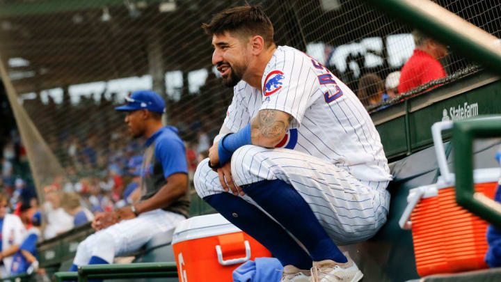 CHICAGO, ILLINOIS - SEPTEMBER 21: Nicholas Castellanos #6 of the Chicago Cubs lingers in the dugout for a couple extra minutes following his team's 9-8 loss to the St. Louis Cardinals at Wrigley Field on September 21, 2019 in Chicago, Illinois. (Photo by Nuccio DiNuzzo/Getty Images)