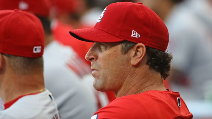 CHICAGO, IL - JULY 11:    Manager Mike Matheny #22 of the St. Louis Cardinals watches as his team takes on the Chicago White Sox at Guaranteed Rate Field on July 11, 2018 in Chicago, Illinois. (Photo by Jonathan Daniel/Getty Images)