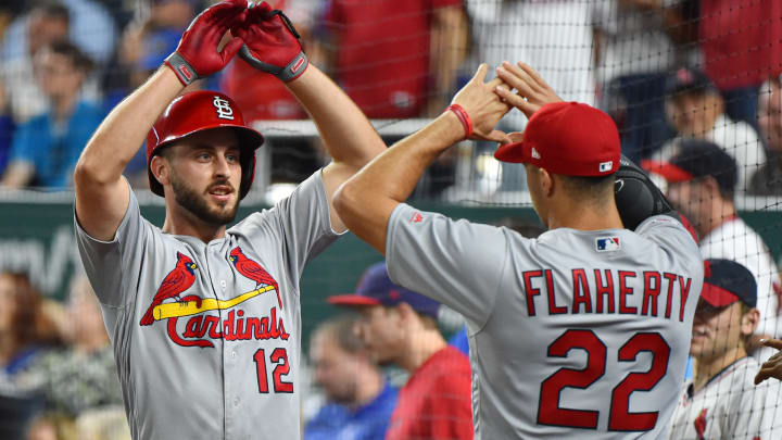 KANSAS CITY, MISSOURI - AUGUST 14: Paul DeJong #12 of the St. Louis Cardinals celebrates his home run with Jack Flaherty #22 in the eighth inning against the Kansas City Royals at Kauffman Stadium on August 14, 2019 in Kansas City, Missouri. (Photo by Ed Zurga/Getty Images)