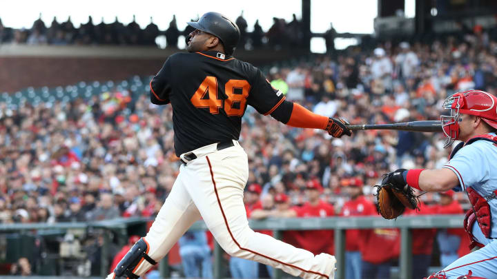 SAN FRANCISCO, CALIFORNIA - JULY 06:  Pablo Sandoval #48 of the San Francisco Giants hits a sacrifice fly that scored a run in the first inning against the St. Louis Cardinals at Oracle Park on July 06, 2019 in San Francisco, California. (Photo by Ezra Shaw/Getty Images)