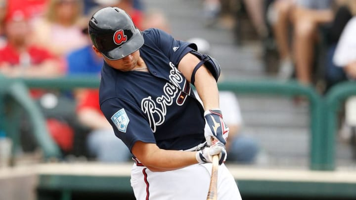 LAKE BUENA VISTA, FLORIDA - MARCH 12:  Austin Riley #74 of the Atlanta Braves singles in the sixth inning against the St. Louis Cardinals during the Grapefruit League spring training game at Champion Stadium on March 12, 2019 in Lake Buena Vista, Florida. (Photo by Michael Reaves/Getty Images)