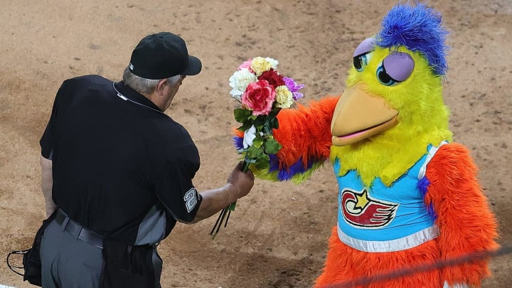 Joe West and the San Diego Chicken.