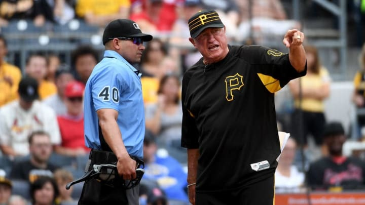 PITTSBURGH, PA - SEPTEMBER 08:  Manager Clint Hurdle #13 of the Pittsburgh Pirates argues with umpire Roberto Ortiz #40 after being ejected in the seventh inning during the game against the St. Louis Cardinals at PNC Park on September 8, 2019 in Pittsburgh, Pennsylvania. (Photo by Justin Berl/Getty Images)
