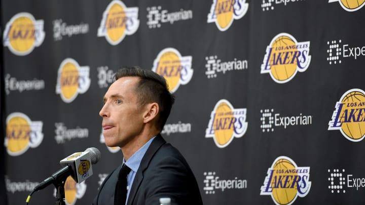 EL SEGUNDO, CA - MARCH 24:  Steve Nash of the Los Angeles Lakers announces his retirement at a press conference at the Toyota Sports Center on March 24, 2015 in El Segundo, California.  (Photo by Harry How/Getty Images)