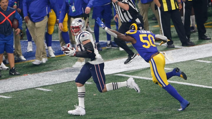 ATLANTA, GEORGIA - FEBRUARY 03: Rob Gronkowski #87 of the New England Patriots runs after making a reception against the Los Angeles Rams during Super Bowl LIII at Mercedes-Benz Stadium on February 03, 2019 in Atlanta, Georgia. (Photo by Michael Zagaris/Getty Images)