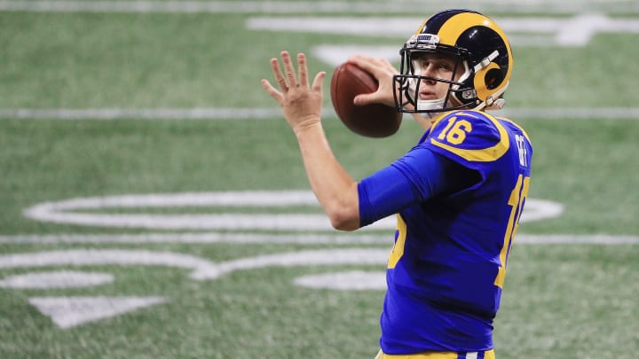 ATLANTA, GA - FEBRUARY 03:  Jared Goff #16 of the Los Angeles Rams warms up prior the Super Bowl LIII at Mercedes-Benz Stadium on February 3, 2019 in Atlanta, Georgia.  (Photo by Mike Ehrmann/Getty Images)