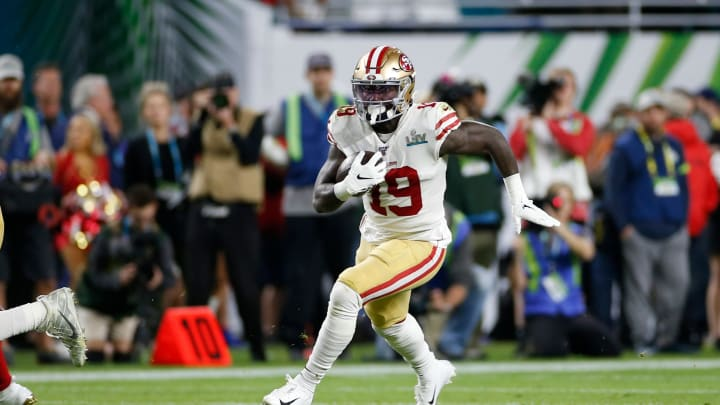 49ers wide receiver Deebo Samuel playing in Super Bowl LIV