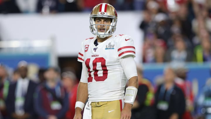 Jimmy Garoppolo of the San Francisco 49ers during Super Bowl LIV