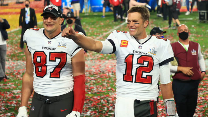 Rob Gronkowski and Tom Brady celebrate after winning Super Bowl LV