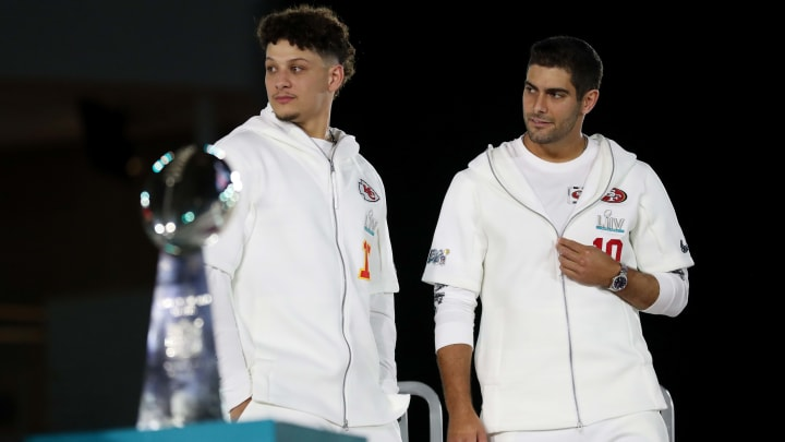 Super Bowl LIV opening night celebration with Patrick Mahomes and Jimmy Garoppolo.