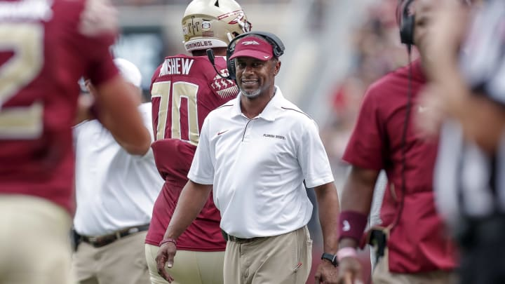 TALLAHASSEE, FL - OCTOBER 26: Head coach Willie Taggart of the Florida State Seminoles on the sidelines during the game against the Syracuse Orange at Doak Campbell Stadium on Bobby Bowden Field on October 26, 2019 in Tallahassee, Florida. (Photo by Don Juan Moore/Getty Images)