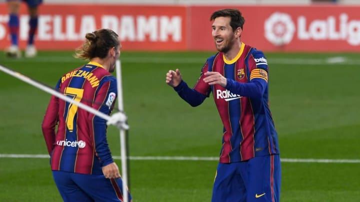 Griezmann und Messi bejubeln ein Tor des FC Barcelona