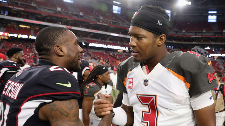 GLENDALE, AZ - OCTOBER 15:  Cornerback Patrick Peterson #21 of the Arizona Cardinals and quarterback Jameis Winston #3 of the Tampa Bay Buccaneers following the NFL game at the University of Phoenix Stadium on October 15, 2017 in Glendale, Arizona. The Cardinals defeated the  Buccaneers 38-33.  (Photo by Christian Petersen/Getty Images)
