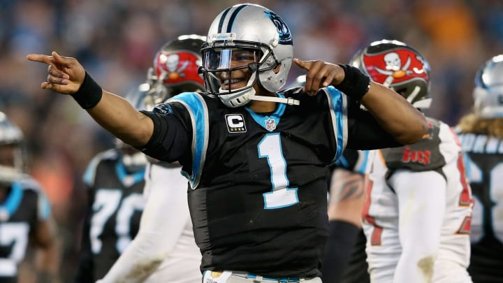 CHARLOTTE, NC - JANUARY 03:  Cam Newton #1 of the Carolina Panthers reacts after running for a first down in the second quarter of their game against the Tampa Bay Buccaneers at Bank of America Stadium on January 3, 2016 in Charlotte, North Carolina.  (Photo by Streeter Lecka/Getty Images)