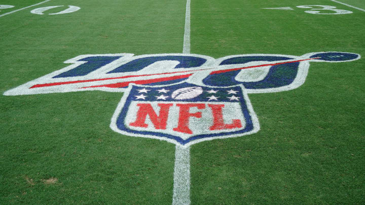 CHARLOTTE, NORTH CAROLINA - SEPTEMBER 12: Detail photo of an NFL 100 logo on the field before the game between the Carolina Panthers and the Tampa Bay Buccaneers at Bank of America Stadium on September 12, 2019 in Charlotte, North Carolina. (Photo by Jacob Kupferman/Getty Images)