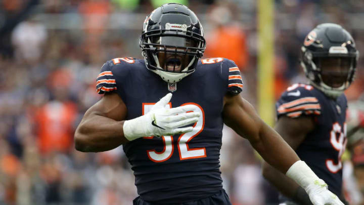 CHICAGO, IL - SEPTEMBER 30:  Khalil Mack #52 of the Chicago Bears celebrates after stripping the football in the second quarter against the Tampa Bay Buccaneers at Soldier Field on September 30, 2018 in Chicago, Illinois.  (Photo by Jonathan Daniel/Getty Images)